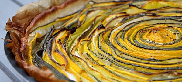 Prendre le temps - Tarte aux courgettes jaunes et vertes - vegan