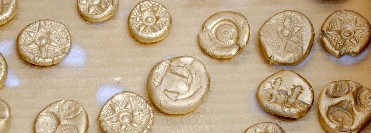 Prendre le temps - Anniversaire Pirate - Pièces de trésor - argile, peinture, or, argent
